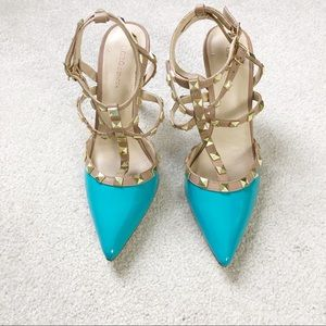 bcbg darron studded blue heels